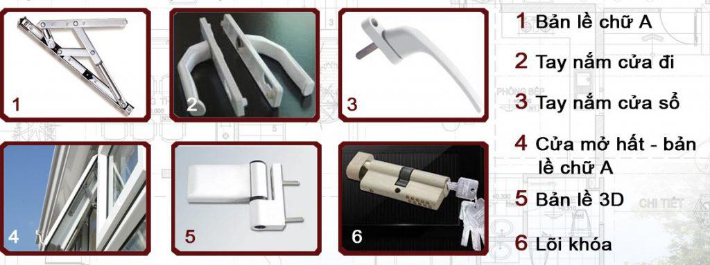 Phụ kiện kim khí đi kèm đảm bảo an toàn tuyệt đối cho cửa nhựa lõi thép