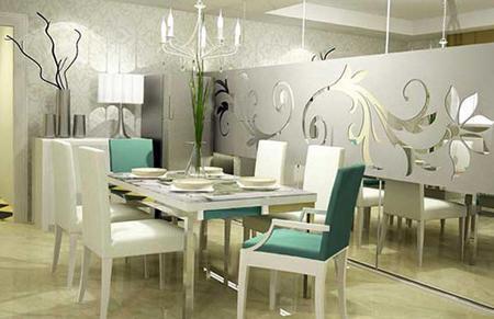 Vách kính nghệ thuật điểm nhấn cho phòng ăn hiện đại.