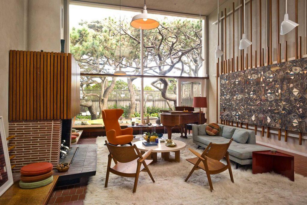 thiết kế phòng khách đẹp và sang trọng với cửa kính lớn.